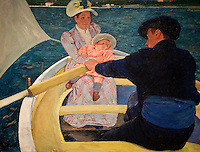 """National Gallery, Washington DC. Painting, """"The Boating Party"""",  1893/94 by Mary Cassatt"""
