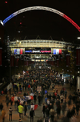 © Licensed to London News Pictures. 18/11/2015. London, UK  Wembley stadium is decorated with the French national motto of Liberté, égalité, fraternité for the England v France football match. Photo credit: Peter Macdiarmid/LNP