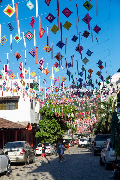 Papel picado, paper flags, Sayulita, Riviera Nayarit, Nayarit, Mexico