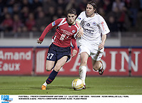FOOTBALL - FRENCH CHAMPIONSHIP 2007/2008 - L1 - LILLE OSC v SM CAEN - 15/03/2008 - KEVIN MIRALLAS (LIL) / KARL SVENSSON (CAEN) - PHOTO CHRISTOPHE DUPONT ELISE / FLASH PRESS