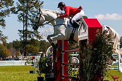 March 22, 2019 - Raeford, North Carolina, US - March 22, 2019 - Raeford, N.C., USA - COLLEEN LOACH of Canada riding QORRY BLUE D'ARGOUGES competes in the show jumping CCI-4S division at the sixth annual Cloud 11-Gavilan North LLC Carolina International CCI and Horse Trial, at Carolina Horse Park. The Carolina International CCI and Horse Trial is one of North AmericaÃ•s premier eventing competitions for national and international eventing combinations, hosting International competition at the CCI2*-S through CCI4*-S levels and National levels of Training through Advanced. (Credit Image: © Timothy L. Hale/ZUMA Wire)