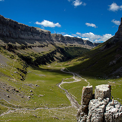 Looking back over the valley of Ordesa y Monte Perdido National Park in Aragon, Spain.