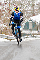 Cyclist, Josh Saxe winter riding in Vermont