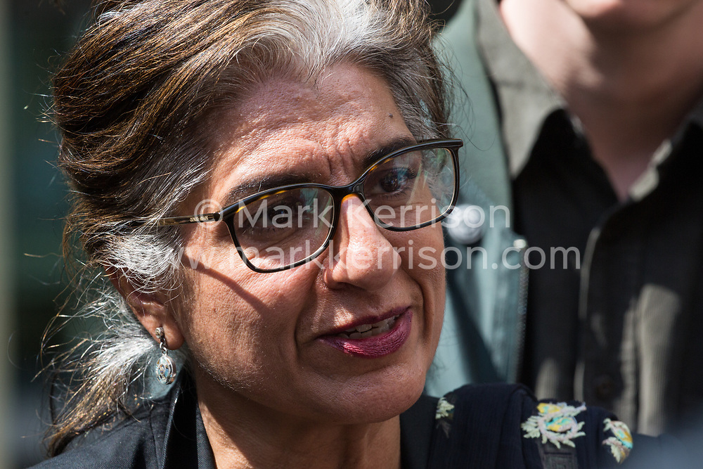 London, UK. 30th April 2019. Climate change activist Farhana Yamin of Extinction Rebellion, a climate change lawyer and former lead author of the IPCC, coordinator of the Political Strategy Team and experienced UN negotiator, is interviewed after attending a meeting hosted by the Secretary of State Michael Gove. Credit: Mark Kerrison/Alamy Live News