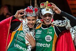 "Eduarda Santos Lisboa ""Duda"" BRA, Agatha Bednarczuk BRA during the ceremony on the last day of the beach volleyball event King of the Court at Jaarbeursplein on September 12, 2020 in Utrecht."