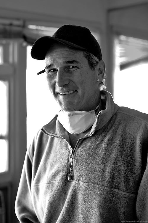 Russel Leonardo still able to smile despite the hard work ahead. Somers Point Longport Boulevard, Longport, NJ