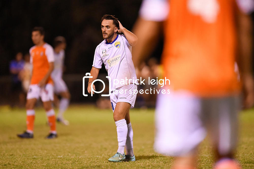 BRISBANE, AUSTRALIA - FEBRUARY 10: Conor Smith of United looks on during the NPL Queensland Senior Mens Round 2 match between Gold Coast United and Brisbane Roar Youth at Station Reserve on February 10, 2018 in Brisbane, Australia. (Photo by Football Click / Patrick Kearney)