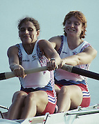 Barcelona, SPAIN.  Bow Joanne TURVEY and Miriam BATTEN 1992 Olympic Rowing Regatta Lake Banyoles, Catalonia [Mandatory Credit Peter Spurrier/ Intersport Images] Last time Men's coxed pair raced at the Olympics