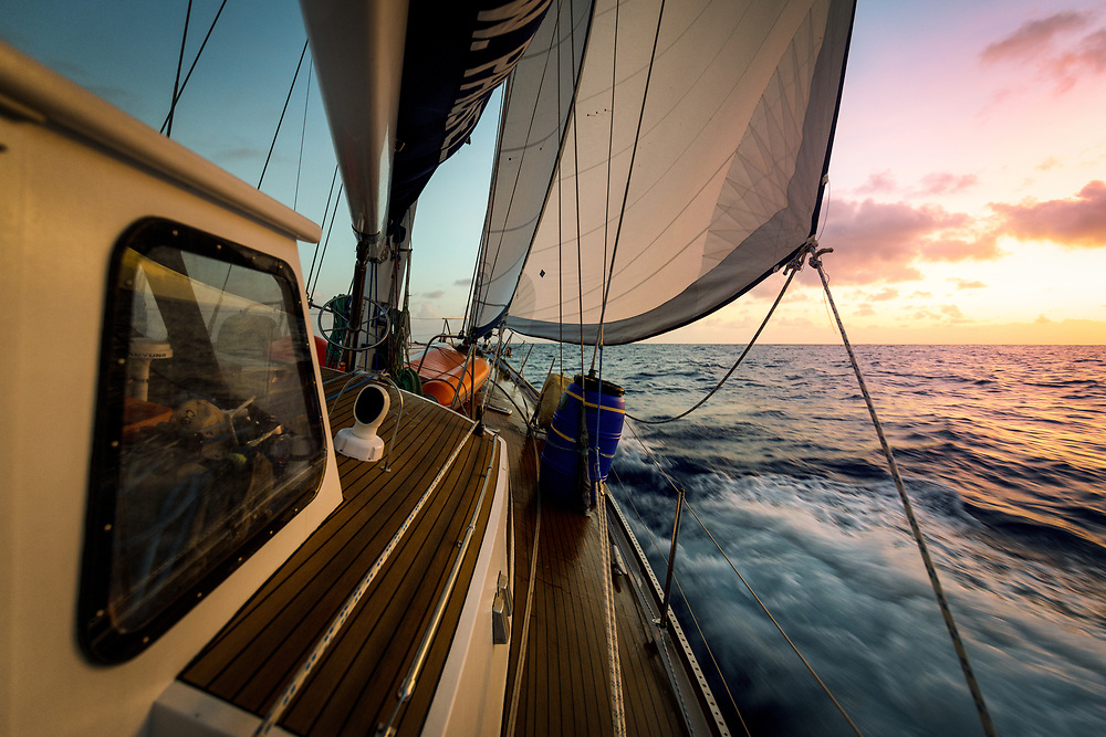 Sailing into the sunset   in the Atlantic Ocean