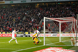 06.12.2014, RheinEnergieStadion, Köln, GER, 1. FBL, 1. FC Köln vs FC Augsburg, 14. Runde, im Bild Anthony Ujah #9 (1. FC Köln / Koeln) schiesst das Tor zum 1:0. Aktion, Action, Querformat, Gestik, Spass, Freude, Jubel, Gut gelaunt, Begeistert // during the German Bundesliga 14th round match between 1. FC Cologne and FC Augsburg at the RheinEnergieStadion in Köln, Germany on 2014/12/06. EXPA Pictures © 2014, PhotoCredit: EXPA/ Eibner-Pressefoto/ Grimme<br /> <br /> *****ATTENTION - OUT of GER*****