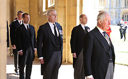 Peter Phillips, the Duke of York, the Earl of Wessex and the Prince of Wales ahead of the funeral of the Duke of Edinburgh at Windsor Castle, Berkshire. Picture date: Saturday April 17, 2021.