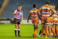 Referee Marius Mitrea  during the Guinness Pro 14 2018_19 match between Edinburgh Rugby and Toyota Cheetahs at BT Murrayfield Stadium, Edinburgh, Scotland on 5 October 2018.
