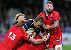 Chris Pennell of Worcester Warriors is tackled by the Bristol defence - Photo mandatory by-line: Patrick Khachfe/JMP - Mobile: 07966 386802 27/05/2015 - SPORT - RUGBY UNION - Worcester - Sixways Stadium - Worcester Warriors v Bristol Rugby - Greene King IPA Championship Play-off Final (Second leg)