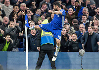 Football - 2016 / 2017 Premier League - Chelsea vs. Stoke City <br /> <br /> Diego Costa of Chelsea celebrates scoring his teams fourth goal by kicking the corner flag at Stamford Bridge.<br /> <br /> COLORSPORT/DANIEL BEARHAM