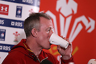 Wales coach Robert Howley has a hot drink at the Wales Rugby team announcement press conference at the Vale Resort, Hensol near Cardiff, South Wales on Thursday 2nd Feb 2017.  The team are preparing for the the RBS Six nations match against Italy.  pic by  Andrew Orchard, Andrew Orchard sports photography.