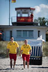 THEMENBILD - Deutsche Lebens-Rettungs-Gesellschaft ist eine gemeinnützige und selbstständige Wasserrettungs- und Nothilfeorganisation. Sie arbeitet grundsätzlich ehrenamtlich mit freiwilligen Helfern. Mit knapp über 550.000 Mitgliedern, Aufgenommen am 9. Juni 2015 in Prerow. Hier im Bild Caroline Falsett (18), Marc Nolte (19), DLRG, Wasserrettung, Wachstation // German Life Saving Association is a relief organization for life saving in Germany. The DLRG is a non-profit, independent organization based on volunteers. Hauptuebergang in Prerow, Germany on 2015/06/09. EXPA Pictures © 2015, PhotoCredit: EXPA/ Eibner-Pressefoto/ Walther<br /> <br /> *****ATTENTION - OUT of GER*****