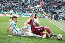 13.04.2019, Allianz Stadion, Wien, AUT, 1. FBL, SK Rapid Wien vs SV Mattersburg, Qualifikationsgruppe, 25. Spieltag, im Bild v. l. Mert Muelduer (SK Rapid Wien), Martin Pusic (SV Mattersburg), Srdjan Grahovac (SK Rapid Wien) // during the tipico Bundesliga qualification group, 25th round match between SK Rapid Wien and SV Mattersburg at the Allianz Stadion in Wien, Austria on 2019/04/13. EXPA Pictures © 2019, PhotoCredit: EXPA/ Florian Schroetter