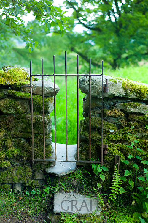 Metal gate style on nature trail near Ambleside in the Lake District, Cumbria, UK