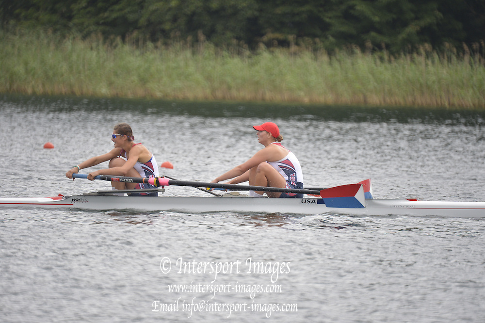 Trackai. LITHUANIA. ..B Final. USA BW2-  Bow. Anna KAMINSKI and Rosemary POPA  in the closing stages of the women's pair B Final.  2012 FISA U23 World Rowing Championships.  Lake Galve. ..11:58:29  Saturday  14/07/2012 [Mandatory Credit: Peter Spurrier/Intersport Images]..Rowing. 2012. U23.