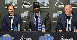 June 22, 2018 - Orlando, FL, USA - Orlando Magic President Jeff Weltman, left, new draft pick Mo Bamba, middle, and head coach Steve Clifford, right, smile during a news conference at the Amway Center in Orlando, Fla., on Friday, June 22, 2018. (Credit Image: © Stephen M. Dowell/TNS via ZUMA Wire)