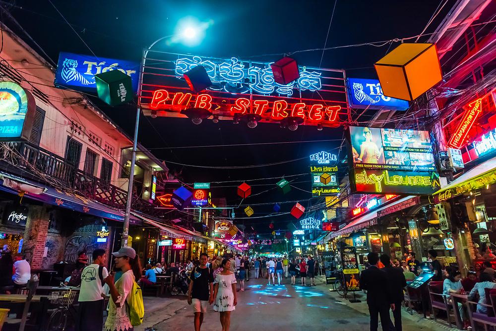 Pub Street, the entertainment/bar/restaurant district of Siem Reap, Cambodia.