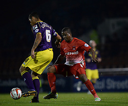 Notts County's Dean Leacock and Leyton Orient's Kevin Lisbie compete for the ball  - Photo mandatory by-line: Mitchell Gunn/JMP - Tel: Mobile: 07966 386802 17/09/2013 - SPORT - FOOTBALL -  Matchroom Stadium - London - Leyton Orient v Notts County - Sky Bet League One
