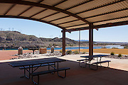 Playground and picnic area at the end of the Riverwalk Exploration Trail along the Colorado River, Laughlin, Nevada.
