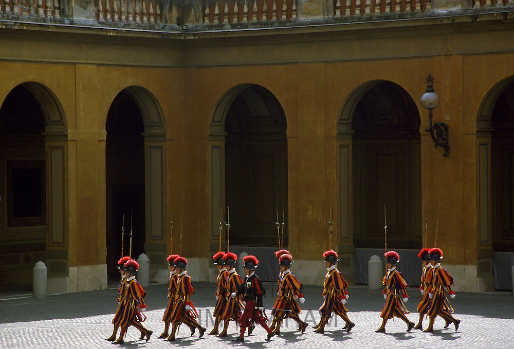 Swiss Guards march at the Vatican, Vatican City, near Italy
