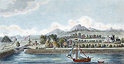 Basin of Caledonian Ship Canal at Muirtown near Inverness, Scotland. Opened 24 October 1822. Engineer: Thomas Telford. Hand-coloured engraving.