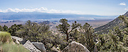 Along Whitney Portal Road, view southeast towards Owens Valley, the Inyo Mountains, and the town of Lone Pine, California, USA.  This panorama was stitched from 2 overlapping photos.