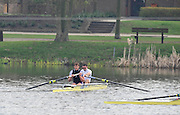 Hazewinkel, BELGIUM,   Men's pair B Final. stroke [left] Dan RITCHIE and Nataniel REILLY O'DONNELL celebrate winning at the British Rowing Senior Trails, Bloso Rowing Centre. Monday  12/04/2010.  [Mandatory Credit. Peter Spurrier/Intersport Images]