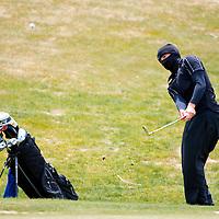 041813       Brian Leddy<br /> Grants Pirate Joseph Trujillo chips onto the green during Thursday's Grants Invitational Golf Tournament at Coyote del Malpais golf course.