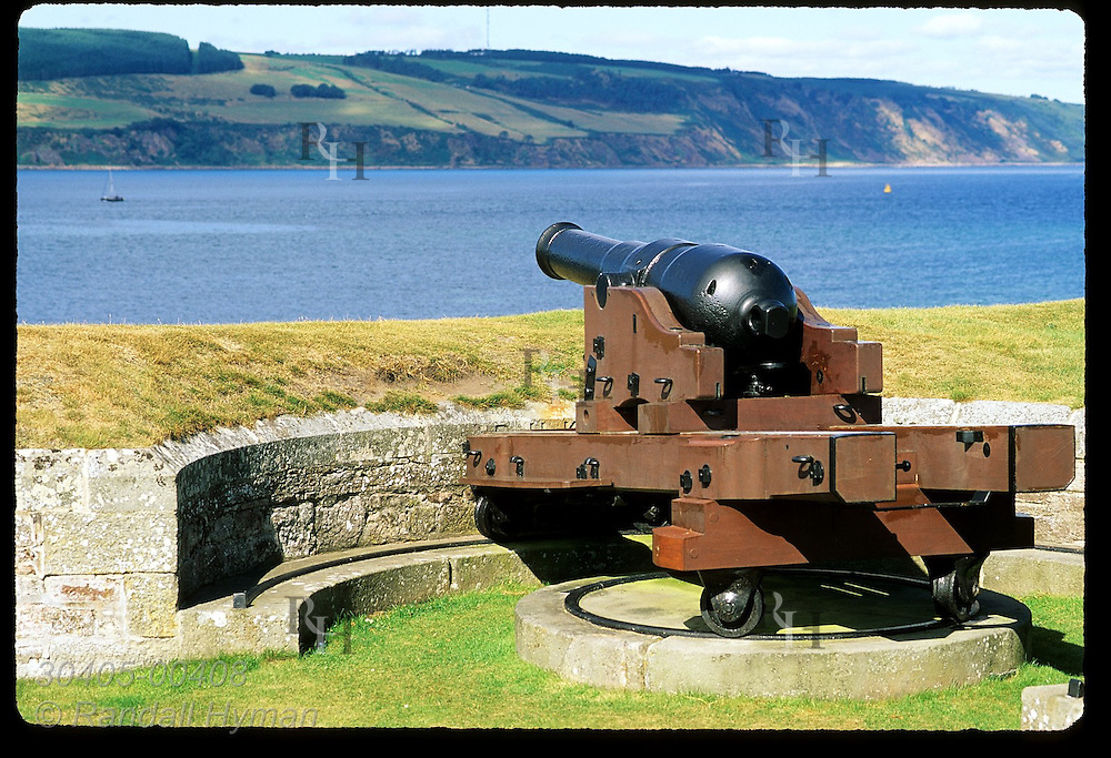 Cannon guards waters of Moray Firth at Fort George, built to quell revolt after the final Jacobite defeat of 1746; Ardersier, Scotland.