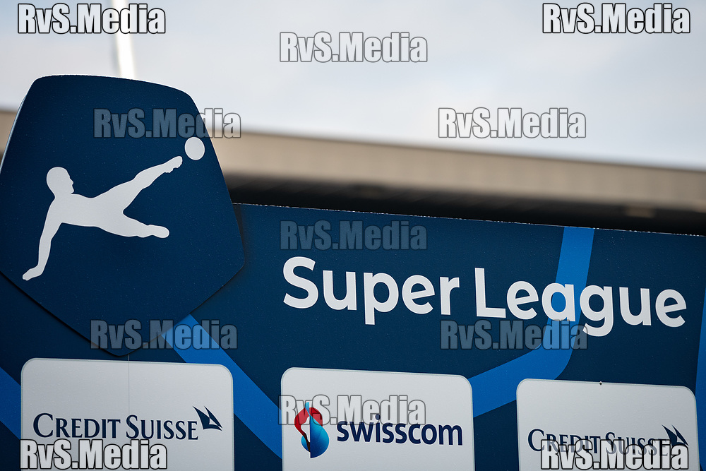 LAUSANNE, SWITZERLAND - SEPTEMBER 22: A view of the Super League logo before the Swiss Super League match between FC Lausanne-Sport and BSC Young Boys at Stade de la Tuiliere on September 22, 2021 in Lausanne, Switzerland. (Photo by Basile Barbey/RvS.Media/)