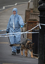 © Licensed to London News Pictures. 24/01/2016. London, UK. Police in protective overalls attend South Norwood Recreation Ground after a reports of an unresponsive man found in the park close to Tennison  Road. A man, believed to be in his late teens or early 20s, was found suffering a stab wound. He was pronounced dead at 20:45hrs. on Saturday 23rd January.   Photo credit: Peter Macdiarmid/LNP