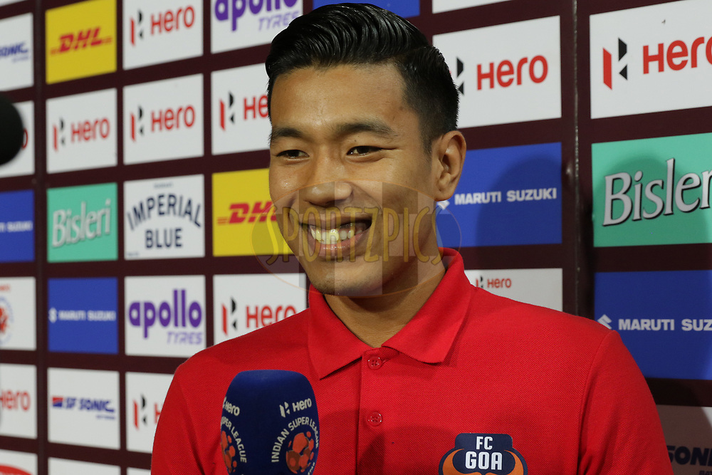 Tv interview during match 25 of the Hero Indian Super League 2018 ( ISL ) between Jamshedpur FC and FC Goa held at JRD Tata Sports Complex, Jamshedpur, India on the 1st November  2018<br /> <br /> Photo by Saikat Das /SPORTZPICS for ISL