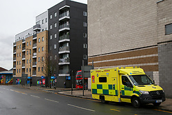 © Licensed to London News Pictures. 26/03/2021. London, UK. A ambulance in Lordship Lane, Wood Green in north London where a woman in her 20s fell and is in hospital with serious injuries. Police were called just after 9.45am this morning. Photo credit: Dinendra Haria/LNP