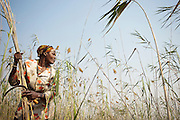 A woman cuts reeds used for thatching in the local village. Near Seronga, Botswana