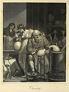 Chemistry Is Represented By A Venerable Philosopher Seated Near A Sand Bath Furnace, In The Act Of Performing The Chemical Analysis, Surrounded By Various Instruments. Behind Him Stands A Female Clothed In A Saffron Coloured Vest, With A Coronet Upon Her Head, And A Globe In Her Right Hand, Attentively Observing A Young Man Who Is Busily Employed In Melting A Diamond By The Force Of A Lens Acted Upon By The Rays Of The Sun. Copperplate engraving From the Encyclopaedia Londinensis or, Universal dictionary of arts, sciences, and literature; Volume IV;  Edited by Wilkes, John. Published in London in 1810