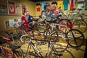 Couple looking at an overview exhibition at the museum Huis Van alijn over Ghent 6 days of track cycling, ghent, Belgium, 03.12.2015