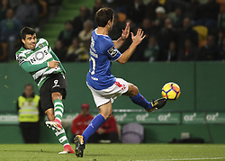 December 1, 2017 - Lisbon, Portugal - Sporting's midfielder Marcos Acuna (L) vies with Belenenses's midfielder Bruno Pereirinha during the Portuguese League  football match between Sporting CP and CF Belenenses at Jose Alvalade  Stadium in Lisbon on December 1, 2017. (Credit Image: © Carlos Costa/NurPhoto via ZUMA Press)