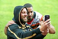 Bradford Bulls winger Omari Caro (18) has a selfie with a fan during the Kingstone Press Championship match between Dewsbury Rams and Bradford Bulls at the Tetley's Stadium, Dewsbury, United Kingdom on 10 September 2017. Photo by Simon Davies.