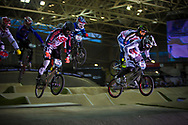 #65 (PHILLIPS Liam) GBR leads his heat at the UCI BMX Supercross World Cup in Manchester, UK