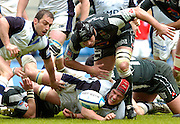2005 European Challenge Cup Final Sale Sharks v Pau, ENGLAND, 21.05.2005, Left  Sale's Bryan Redpath and Chris Jone [red hat] on the floor attemp to stop Pau's lock Patrico Tobacco from winning the loose ball.<br /> Photo  Peter Spurrier. <br /> email images@intersport-images