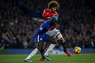 Tiemoue Bakayoko of Chelsea holds off Maroune Fellaini of Manchester United .<br /> Premier league match, Chelsea v Manchester United at Stamford Bridge in London on Sunday 5th November 2017.<br /> pic by Kieran Clarke, Andrew Orchard sports photography.