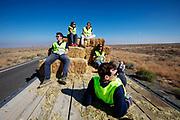Teamleden helpen mee met het plaatsen van hooibalen langs het parcours. Het Human Power Team Delft en Amsterdam, dat bestaat uit studenten van de TU Delft en de VU Amsterdam, is in Amerika om tijdens de World Human Powered Speed Challenge in Nevada een poging te doen het wereldrecord snelfietsen voor vrouwen te verbreken met de VeloX 8, een gestroomlijnde ligfiets. Het record is met 121,81 km/h sinds 2010 in handen van de Francaise Barbara Buatois. De Canadees Todd Reichert is de snelste man met 144,17 km/h sinds 2016.<br /> <br /> With the VeloX 8, a special recumbent bike, the Human Power Team Delft and Amsterdam, consisting of students of the TU Delft and the VU Amsterdam, wants to set a new woman's world record cycling in September at the World Human Powered Speed Challenge in Nevada. The current speed record is 121,81 km/h, set in 2010 by Barbara Buatois. The fastest man is Todd Reichert with 144,17 km/h.