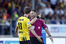 (L-R), Nils Roseler of VVV-Venlo, Referee Danny Makkelie during the Dutch Eredivisie match between VVV Venlo and PSV Eindhoven at Seacon stadium De Koel on October 15, 2017 in Venlo, The Netherlands