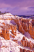 Fresh powder on rock formations below Sunrise Point, Bryce Canyon National Park, Utah
