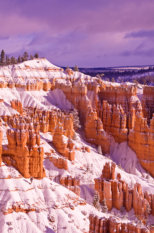 Fresh powder on rock formations below Sunrise Point, Bryce Canyon National Park, Utah