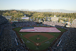 October 25, 2017 - Los Angeles, CALIFORNIA, UNITED STATES OF AMERICA - The American Flag is on display  before game two of the 2017 World Series between the Houston Astros and the Los Angeles Dodgers at Dodger Stadium on October 25, 2017 in Los Angeles, California. The Houston Astros won the game 7-6 .ARMANDO ARORIZO. (Credit Image: © Armando Arorizo/Prensa Internacional via ZUMA Wire)